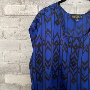 F21+ | IKat Tribal print Cobalt Blue black top
